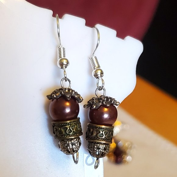 Silver Tone Hook Bronze Glass and Metal Earrings